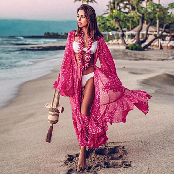 Chiffon Robe Beach Dress Cover Up Swimsuit Kaftan Long Sleeve Tunic Swimwear Women Sarong Bathing Suit Ladies Pareo Beachwear