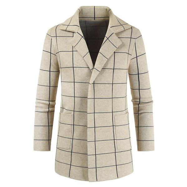 Dropshipping Men's Jacket Autumn Winter Blazer Design Business Casual Jacket Sweatercoat Plaid Knit Windbreaker Outerwear Male
