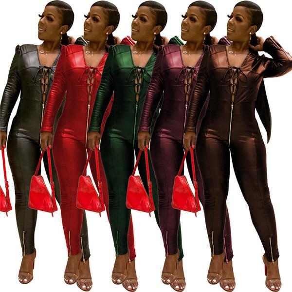 Женщины PU сплошного цвета Комбинезоны Rompers сексуальных клуб кожа осень зима одежда бандажных лосины полнометражных брюки трико горячего надувательство 1867