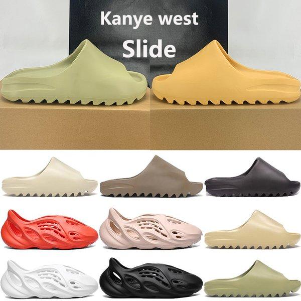 top popular New kanye west foam runner slide sandal shoes men women triple black white bone resin desert sand slipper sandals US 5-11 2020