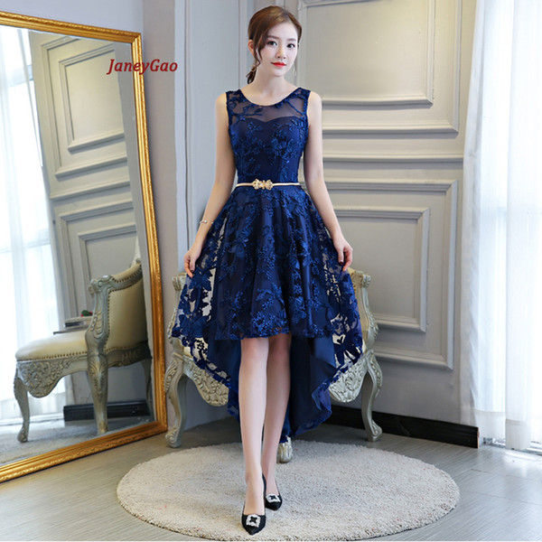 Janeygao 2019 Short Prom Dresses For Women Elegant Styel Formal Gown Low Hight Dress Front Short Back Long Royal Blue Prom Gown Y19042701