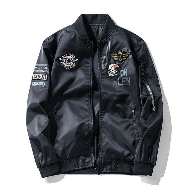 mens bomber jackets new fashion style male pilot jacket with patches thin pilot bomber jacket men large size 6xl