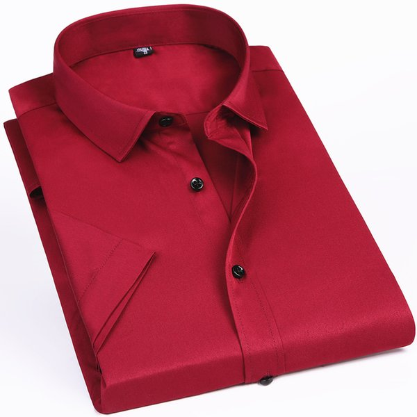 Elasticity Slim Fit Men Short Sleeved Shirt Red White Black Blue Male Social Formal Dress Casual Shirt Classic Solid Color Y190415