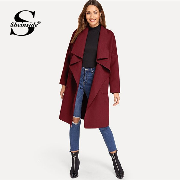 Acheter Sheinside Bordeaux Trench Coat Poches Avant Pour Femmes Cascade Col Ceinture Ceinture Survêtement Vêtements Pour Femmes Dames Wrap Longs