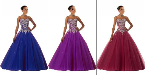 Sparkly Royal Blue Prom Quinceanera Kleider Burgund 2019 Ballkleid Schatz Korsett Kristall Strass Party Abendkleider Günstige Princess