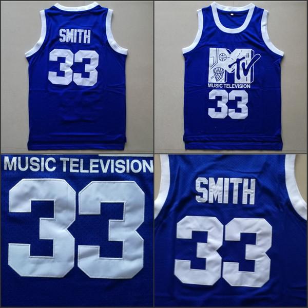 Mens Will Smith # 33 Maillot de basket-ball Musique Télévision Première annuelle de Rock N'Jock B-Ball Jam 1991 Bleu Chemises cousues
