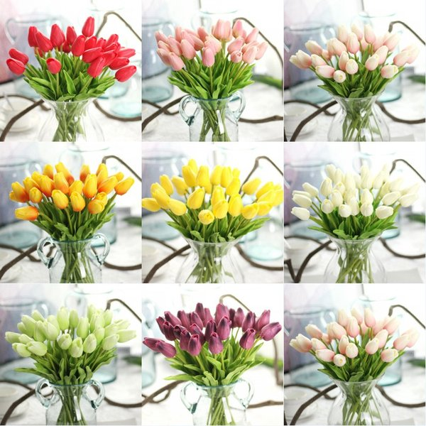 PU Tulips Flower Mini Tulip Flower Real Touch Artificial Tulips Wedding Hotel Home Party Decorative Flowers
