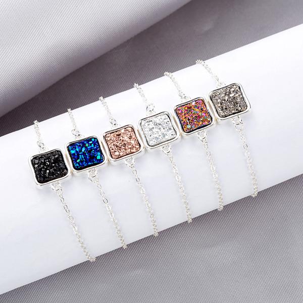2019 Kendra Style Square Drusy Druzy Bracciale in resina drusa pietra oro argento regolabile catena a maglia braccialetto regalo gioielli delle donne