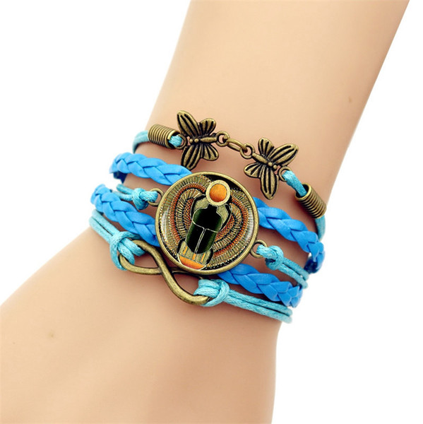 Jewelry Fashion good Egyptian scarab time gem bracelet retro butterfly 8 word combination bracelet sold well in Europe and America