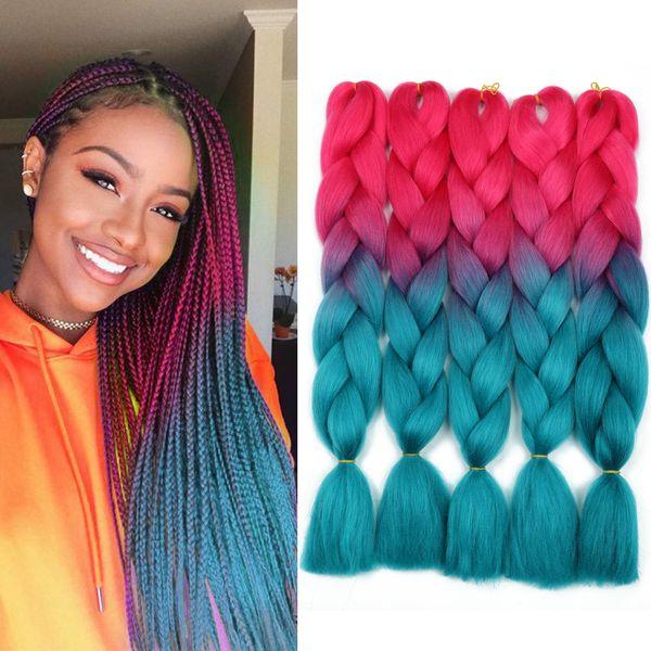 5Packs Deux Tons Ombre Tressage Cheveux Kanekalon Tresses Extensions de Cheveux Synthétiques 24 Pouces Jumbo Tressage Cheveux pour Boîte Tresses Rouge à Cyan 100g / pc