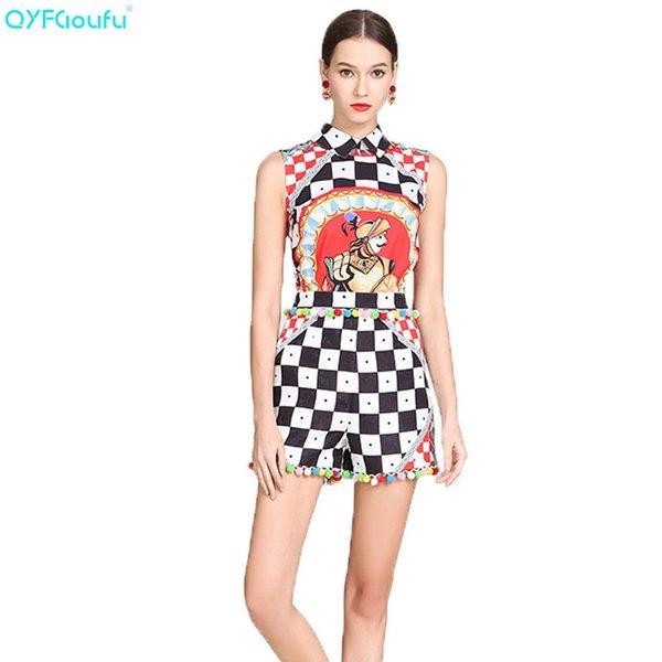 QYFCIOUFU 2019 Summer Women 2 Piece Set Top And Pants Sets Sleeveless Shirt High Fashion Runway Geometric Print Shorts Set