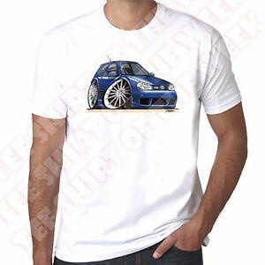 WiHip hopeArtz Cartoon Car Blue Golf MK4 R32 Hommes 100% Coton Blanc T-shirt