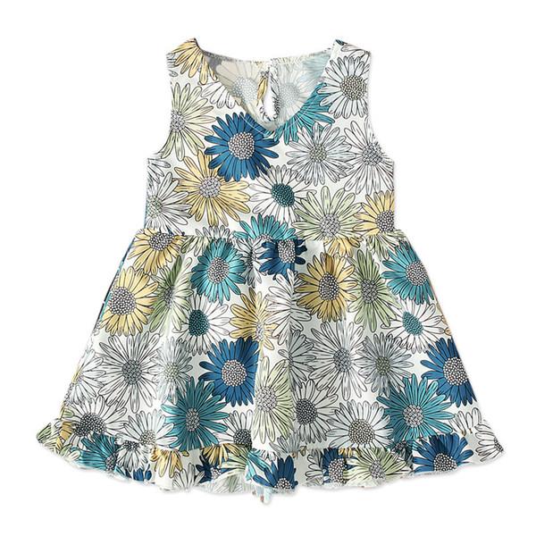 NEU Kleinkind Sommer Baby Mädchen KINDER modische Mädchen Rock ärmellose Sonnenblume Kleid Marke Kinder Kleidung 1-5 T