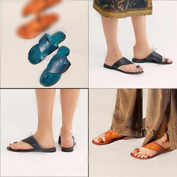 Kadın Yaz Sandalet Büyük Kod Deri Roma Terlik Siyah Kahverengi Mavi Basit Moda Düz Ayakkabı Sıcak Satış 32sla D1