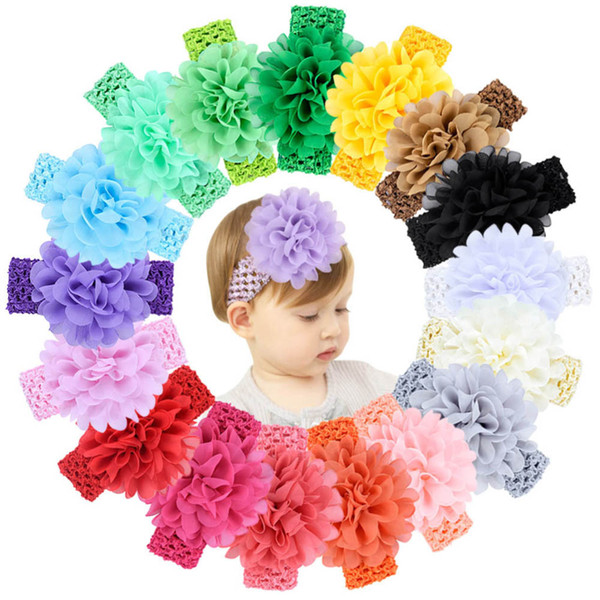 18 color baby Headwear Head Flower Hair Accessories 4 inch Chiffon flower with soft Elastic crochet headbands stretchy hair band
