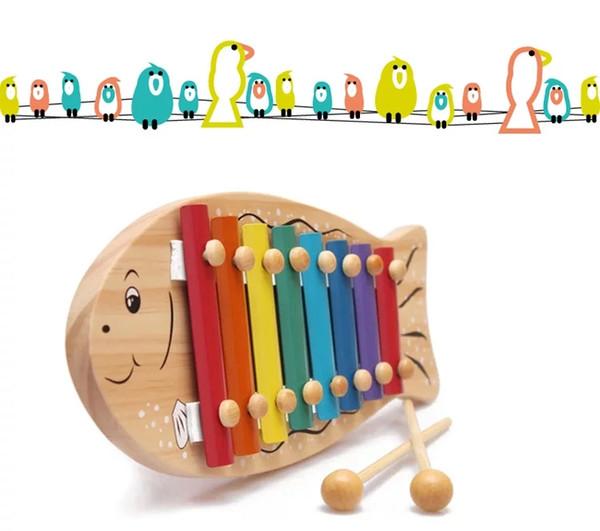 Симпатичные Октава рука стучит фортепиано дерево рыба стучит фортепиано хит музыка деревянный музыкальный инструмент детские образовательные музыкальные игрушки