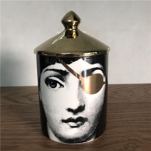 Fornasetti Bougeoir bougies pot bricolage main rétro Lina visage Boîte de rangement en céramique Caft Décoration Jewerlly Boîte de rangement gratuit