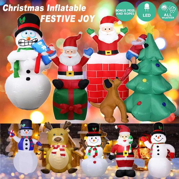 Inflatable Christmas Decorations.Led Inflatable Santa Claus Snowman Elk Christmas Decoration New Year Party Home Shop Yard Garden Decoration Christmas Ornaments Commercial Christmas
