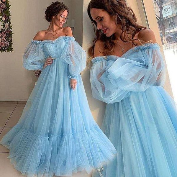 Sky Blue Tulle A Line Prom Party Dresses 2019 For Arabic Women Sheer Long Sleeves Sweep Train Plus Size Special Occasion Evening Gowns