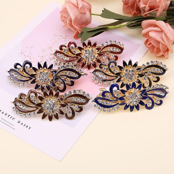 Fashion Rhinestone Flower Hair Barrette Clip Hairpin For Wedding Bridal Women