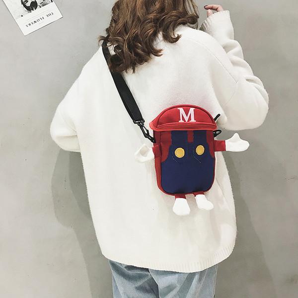 Cartoon Super Marie Bag Children Kids Coin Purse Canvas Shoulders Package Pupil Backpack Mario Luigi Bags Card Holder