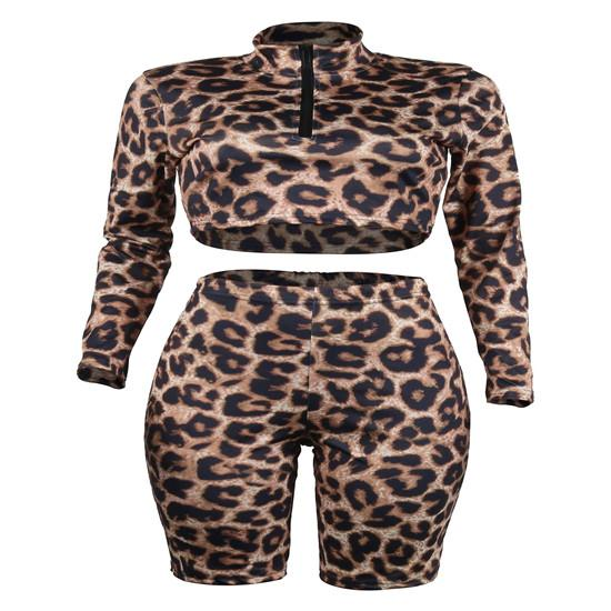Fashion Designer Women Leopard 2pcs Shorts Zipper Suits Summer Printed Casual Suits Casual Clothing Fashion Female Tracksuit