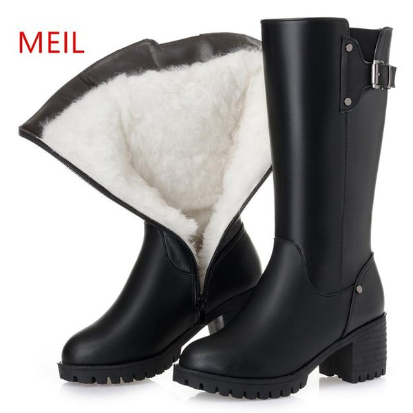 Brand Genuine Leather Black Boots Women Winter shoes 2019 Warm Wool Winter Snow Boots Woman Thick Platform Size 35-43