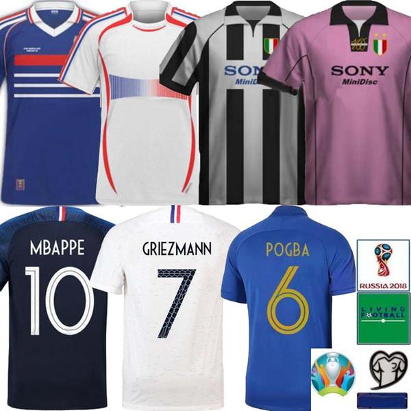 Retro 1997 1998 Europapokal ZIDANE MBAPPE HENRY Fußball Trikot GRIEZMANN POGBA GIROUD Trikot 19 20 KANTE 100-jähriges Jubiläum Fußball Uniform