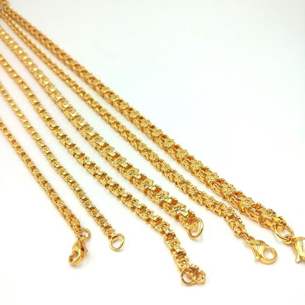 USENSET серебро / золото из нержавеющей стали велосипед цепи 3/4 / 5 мм цветок хип-хоп ожерелье мода подарок на День Рождения ювелирные изделия