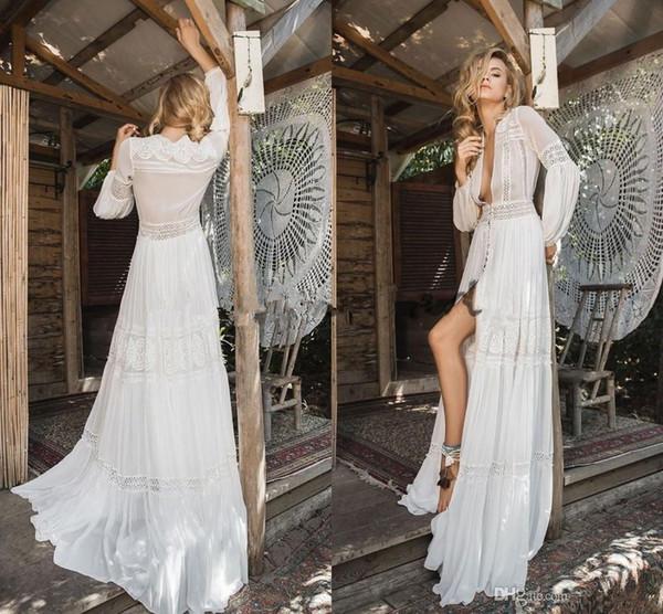 Inbal Raviv 2019 cordón de la gasa de la boda larga de la manga vestidos de ganchillo que fluye vestido de novia de Bohemia de la llamarada diosa griega Beach