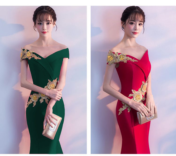 4 Colors Summer 2019 New Korean Lady Embroidered Party Dress Slash Neck Elegant Banquet Long Skirt Formal Wear QC0196