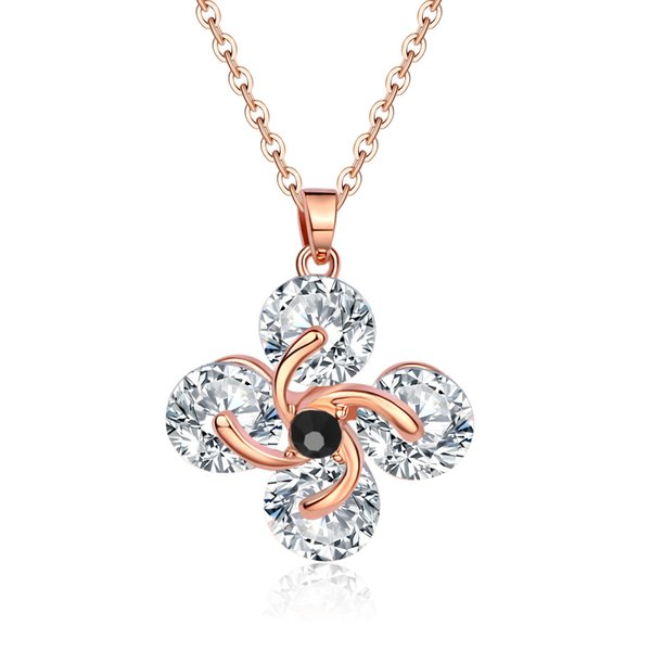 Korean Edition Crystal Ornaments Accessories Temperament Flower Pattern Dress And Dress Ma'am Hundred And Up Necklace Sweater Chain Zircon P