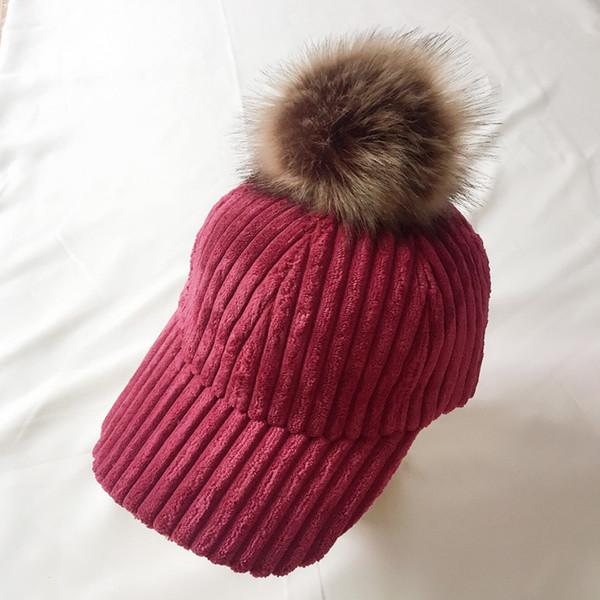 Corduroy Hair Ball Adjustable Female Visors Hat 2019 Fashion Style Autumn Winter Women Hat Casual Elegant Casquette