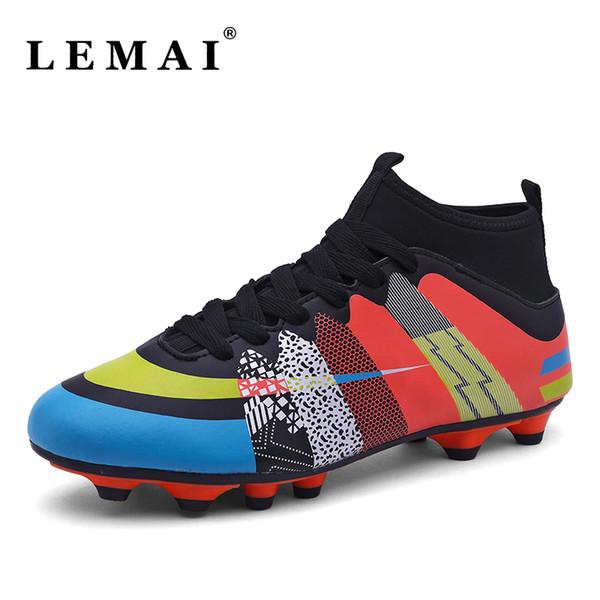 Tamanho 31-43 Homens Sapatos de Futebol Ao Ar Livre À Prova D 'Água de Alta Tornozelo Botas de Futebol Homens Menino Crianças Futebol Sapatos de Desporto