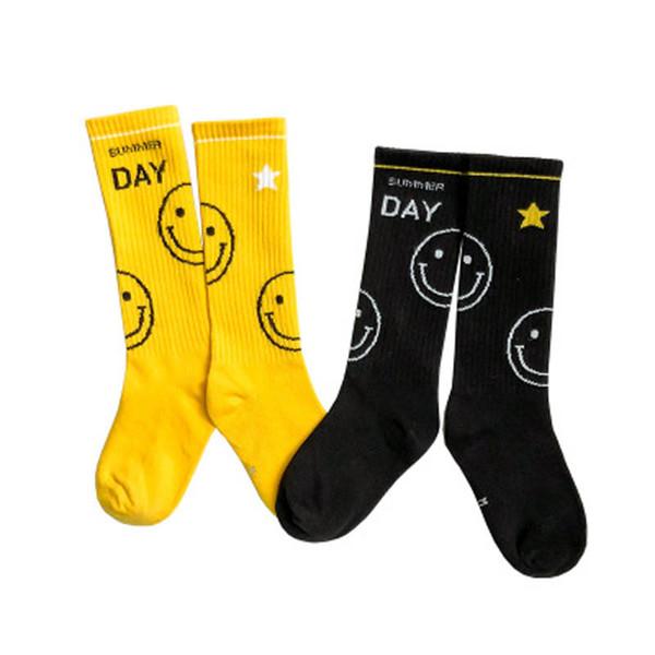 Cartoon smiling Children Socks Athletic Kids Socks Casual student Knit Knee High Socks cotton Boys Sock designer girls sock A5139