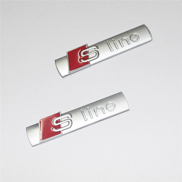 Novo Carro Sline Emblema Emblema Etiqueta Do Carro Chaveiros Chaveiro Sline Roda Pneu Válvula Caules Cap Emblema para AUDI S-Line Quatro Adesivo de Carro