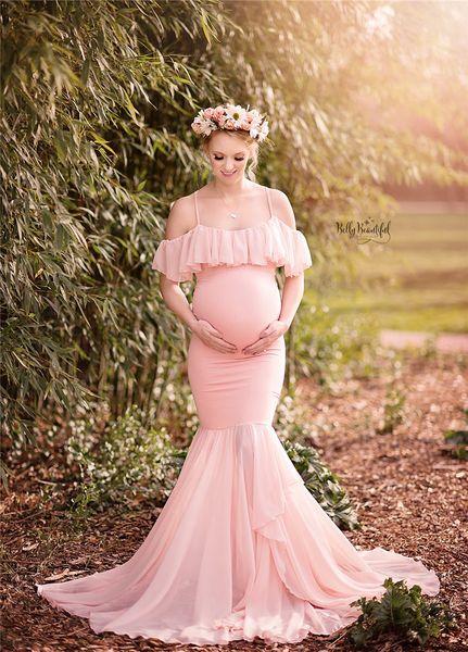 Mutterschaft Fotografie Requisiten Schwangerschaft Kostüm Meerjungfrau Trompete Trägerloses Kleid Umstandskleid Frauen Langes Kleid Kurzarm