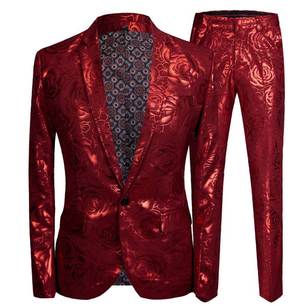 Pyjtrl Men Slim Fit Costume Homme Red Rose Gilding 2 Pieces Set Wedding Suits For Latest Coat Pant Designs Singer Stage Wear
