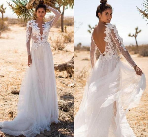 2020 Летние пляжные свадебные платья с длинными рукавами с длинными рукавами и V-образным вырезом и кружевными аппликациями Линии Тюль Спинки в стиле кантри Свадебные платья