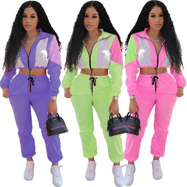 Vêtements de protection du soleil pour les femmes deux pièces ensemble manches longues Crop Top + Pantalon Survêtement Veste Courte Pant Sportswear Eté Vêtements Tenue 369