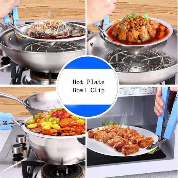 Hot bacia suporte de aço inoxidável Bacia Clipe Dish Handheld Pan Gripper placa quente Dish bacia grampo alça de silicone ferramenta da cozinha