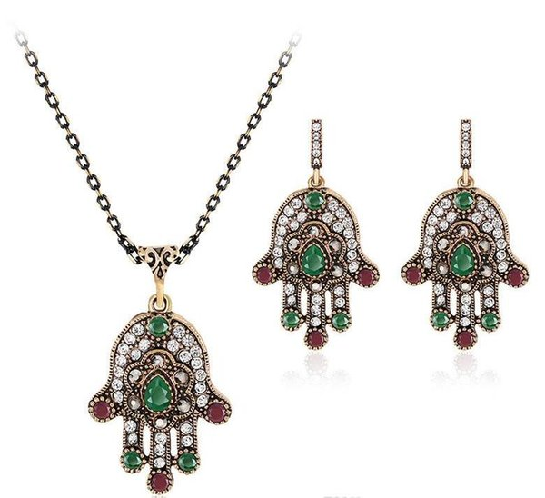 african jewelry set Jewelry Sets Crystal Lucky green Evil Eyes Pendant Necklace Earrings Jewelry Jewellery Sets Women maxi drop ship 162016