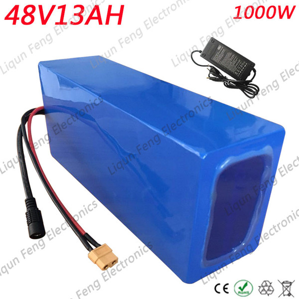 US EU AU Free Tax 48V 13AH E-Bike Battery 48V 13AH 1000W Electric Bicycle power Battery Bulit-in 30A BMS with 42V 2A Charger
