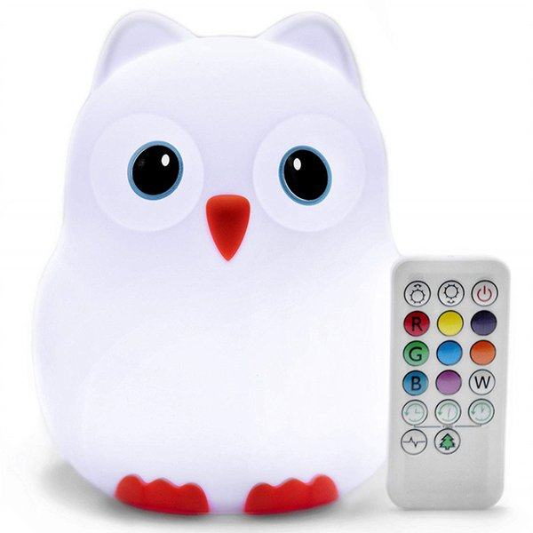 Cartoon Bird Penguin Owl LED Night Light Touch Sensor 9 Colors Remote Control Dimmable Timer USB Silicone Animal Lamp for Children Baby Gift
