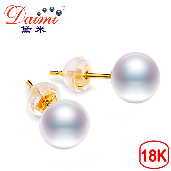 Daimi Pure 18k Gold Pearl Earring White Round Freshwater Pearl Studs Earrings 6-7mm High Quality Brand Jewelry For Women Y19052301