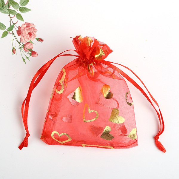100pcs Red Love Heart Organza Drawstring Pouches Jewelry Party Wedding Favor Gift Bags 13x18 cm