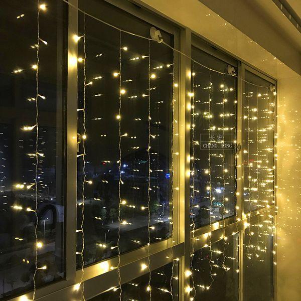 8mx1.5m 384 LEDs 창 커튼 끈 빛 8 개의 형태 실내 옥외 훈장을위한 고드름 끈 조명 Wedding Christmas Party 가정 정원