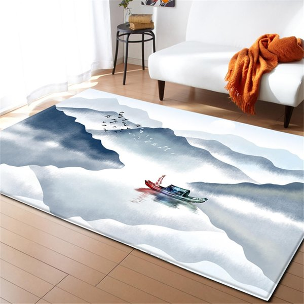 Modern Living Room Decoration Carpet Home Textile Chinese Paintingrug Area Rugs Soft Flannel Winter Warm Anti Slip Carpets Berber Rugs Online Carpet