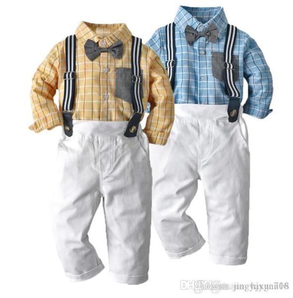 2019 Nuevo tipo de comercio exterior Traje de primavera y otoño para niños Camisa de manga larga Cinturón y pantalón Traje de corbata Nuevos modelos más vendidos S