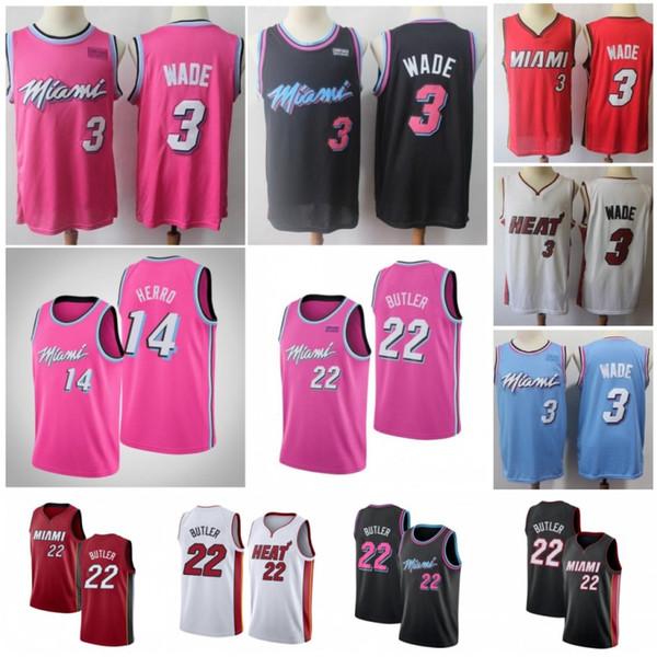 NCAA Dwyane 3 Wade Men Трикотажные изделия для баскетбола Jimmy 22 Butler Goran 7 Dragic Tyler 14 Herro Hassan 21 Вышитые шорты белого цвета 100% Сшитые